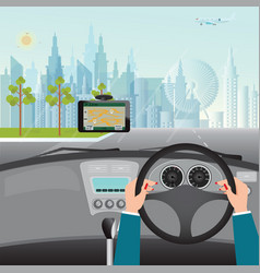 Human hands driving a car with gps navigation vector