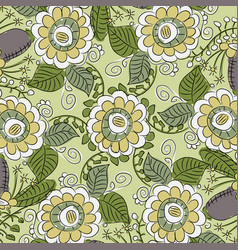 Pattern with flowers and leaves vector