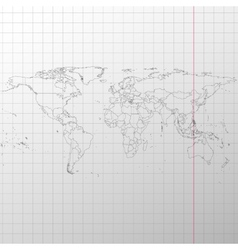 Political map of the world on exercise book vector image