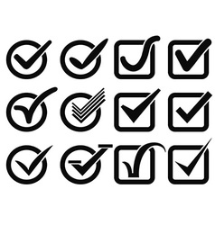 Black check mark button icons vector