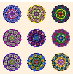 Round flower ornaments vector