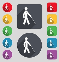Blind icon sign a set of 12 colored buttons and a vector