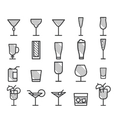 Beverage drinks thin line symbol icon vector