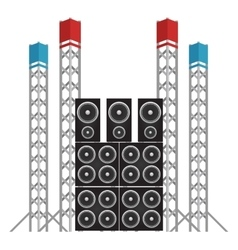 Festival and concert speakers plus light rigs vector