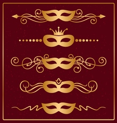 Set of decorative gold masks vector