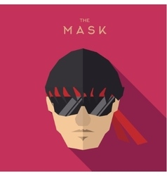 Mask glasses hero man with a red bandage on flat vector