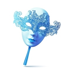 Blue ornate full face carnival mask with handle vector