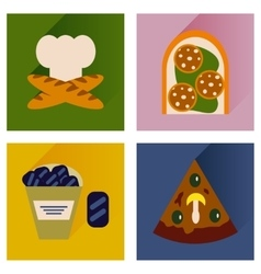Set flat icons with long shadow junk food vector