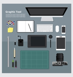 Flat design graphic designer workplace concept vector