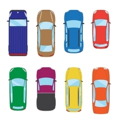Collection of various isolated cars icons car top vector