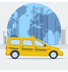 Taxi car on town background vector