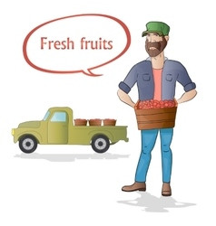 Middle aged man-farmer with box of fruits on white vector