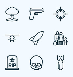 battle outline icons set collection of rip vector image