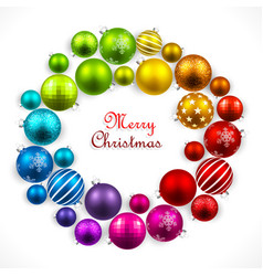 Christmas wreath of colored balls vector image vector image
