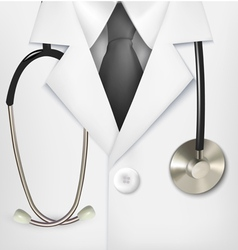 Close up of a doctors lab white coat and vector