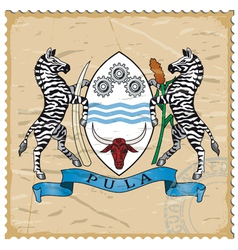 Coat of arms of botswana on the old postage stamp vector