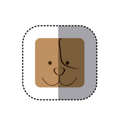 Colorful face sticker of dog face in square frame vector