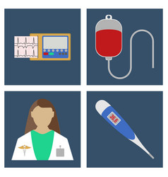 Doctor thermometer ecg blood dpopper icon vector