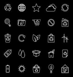 Ecology line icons on black background vector image