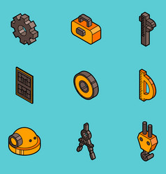 Engineering flat outline icons vector