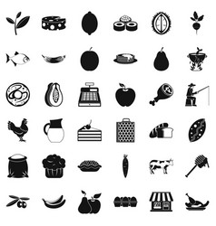 Forest food icons set simple style vector