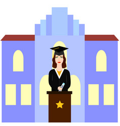 graduate female student giving speech on the vector image