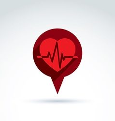 Heartbeat line red medical cardiology icon vector