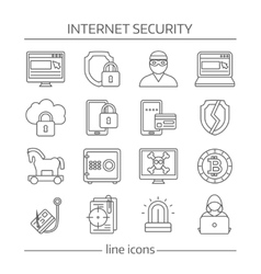 Internet Security Linear Icon Set vector image vector image