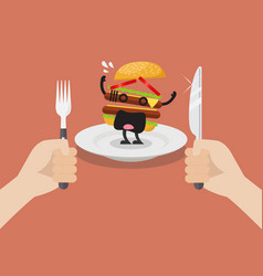 man prepare to eat scared burger vector image