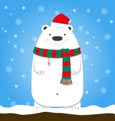 Merry Christmas polar bear wear Santa hat scarf vector image