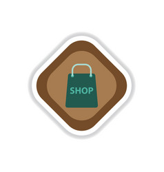 Paper sticker on white background basket shop vector