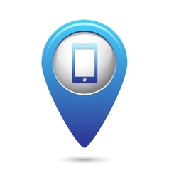 Phone icon on blue map pointer vector image vector image