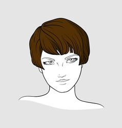 Portrait of brown haired girl vector image vector image