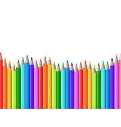 rainbow seamless row of color drawing pencils vector image vector image