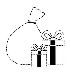 santa claus bag with giftboxes vector image