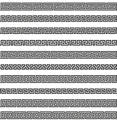 Set different borders greek ornament patterns vector