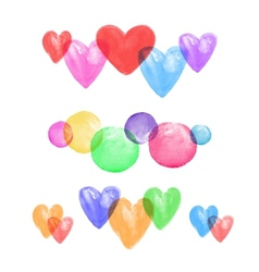 Set of watercolor hearts vector image