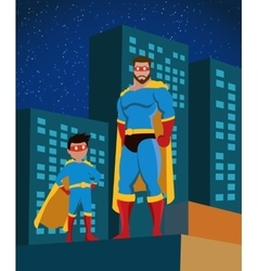Superhero family flat poster vector