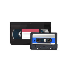 video and audio cassettes vhs and audiotape from vector image vector image