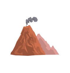 Volcanic mountain with cloud of dust vector
