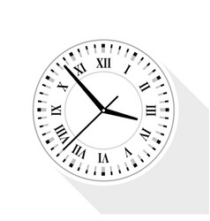wall clock with roman numerals icon flat style vector image