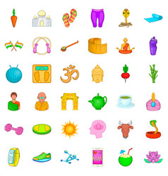 Yoga center icons set cartoon style vector