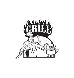 Chef carry alligator grill cartoon vector