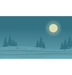 Flat of hill and spruce silhouettes vector