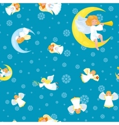 Snowflakes in star shining and angel seamless xmas vector