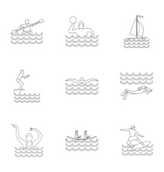 Water exercise icons set outline style vector