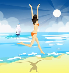 A girl in a bathing suit vector