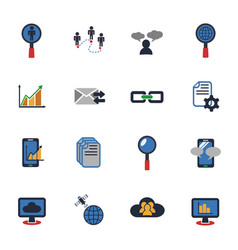 Data analytic and social network icon set vector