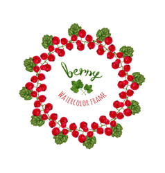 With watercolor red currants frame hand drawn vector