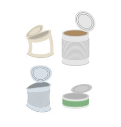 Tin crushed garbage set can rubbish on white vector